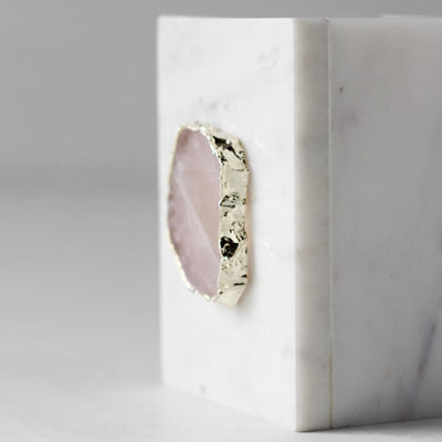 Cresta Marble Pen Stand with Rose Quartz Slice