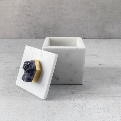Cresta Marble Box with Amethyst Piece - Home Artisan