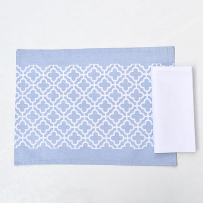 Eileen Blue and White Trellis Placemats with Napkins - Set of 2 - Home Artisan_4