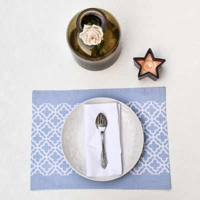 Eileen Blue and White Trellis Placemats with Napkins - Set of 2 - Home Artisan_2