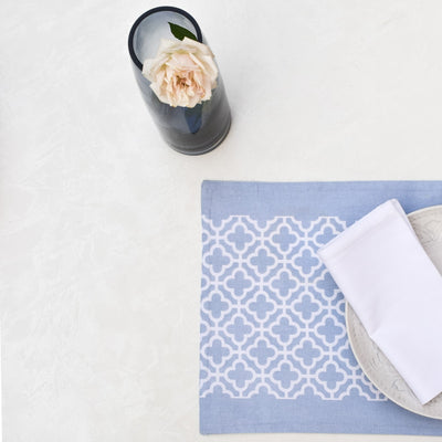 Eileen Blue and White Trellis Placemats with Napkins - Set of 2 - Home Artisan_7
