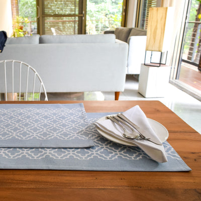 Eileen Blue and White Trellis Placemats with Napkins - Set of 2 - Home Artisan_3