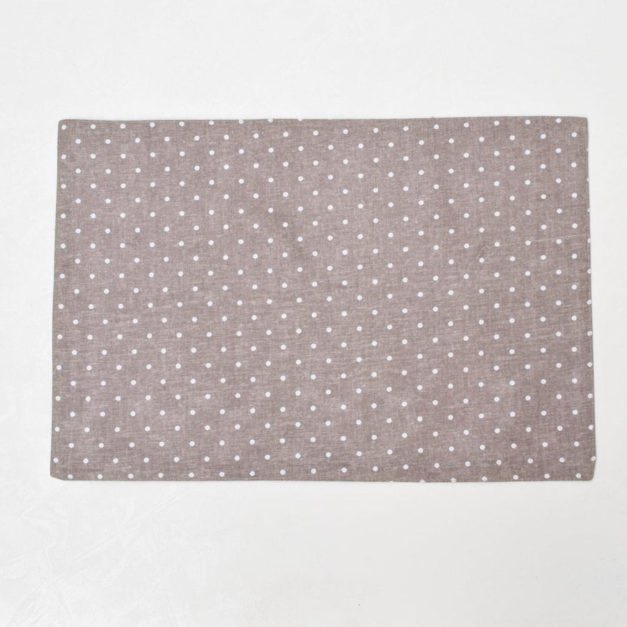 Carolina Mocha and White Polka Dot Placemats with Napkins - Set of 2