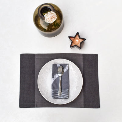 Tessa Grey Placemats with Napkins - Set of 2 - Home Artisan_3