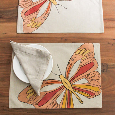 Viona Butterfly Print Placemats with Napkins - Set of 2 - Home Artisan_2