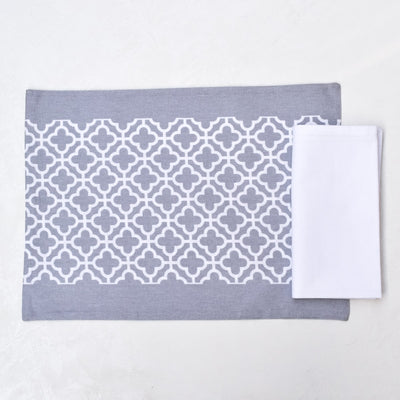Eileen Grey and White Trellis Placemats with Napkins - Set of 2 - Home Artisan_3