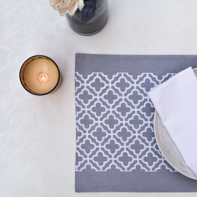 Eileen Grey and White Trellis Placemats with Napkins - Set of 2 - Home Artisan_1