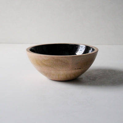 Claudia Mango Wood Bowl with Black Enamel - Home Artisan_2