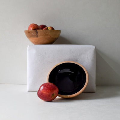 Claudia Mango Wood Bowl with Black Enamel - Home Artisan