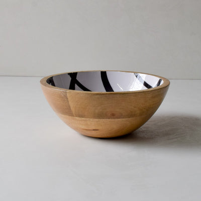 Stark Mango Wood Bowl with Monochromatic Mesh Design - Home Artisan_2