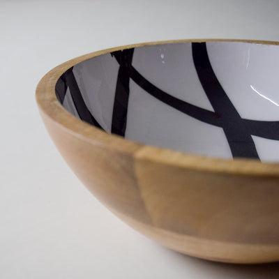 Stark Mango Wood Bowl with Monochromatic Mesh Design - Home Artisan_4
