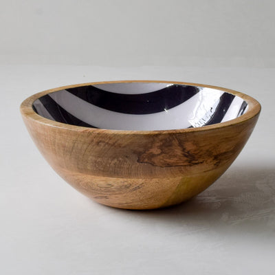 Stark Mango Wood Bowl with Monochromatic Stripe Design - Home Artisan_2