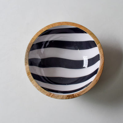 Stark Mango Wood Bowl with Monochromatic Stripe Design - Home Artisan_1
