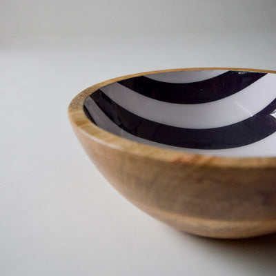 Stark Mango Wood Bowl with Monochromatic Stripe Design - Home Artisan_4