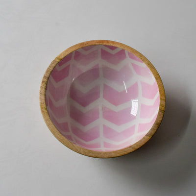 Atwood Mango Wood Bowl with Pink Chevron Design - Home Artisan_3