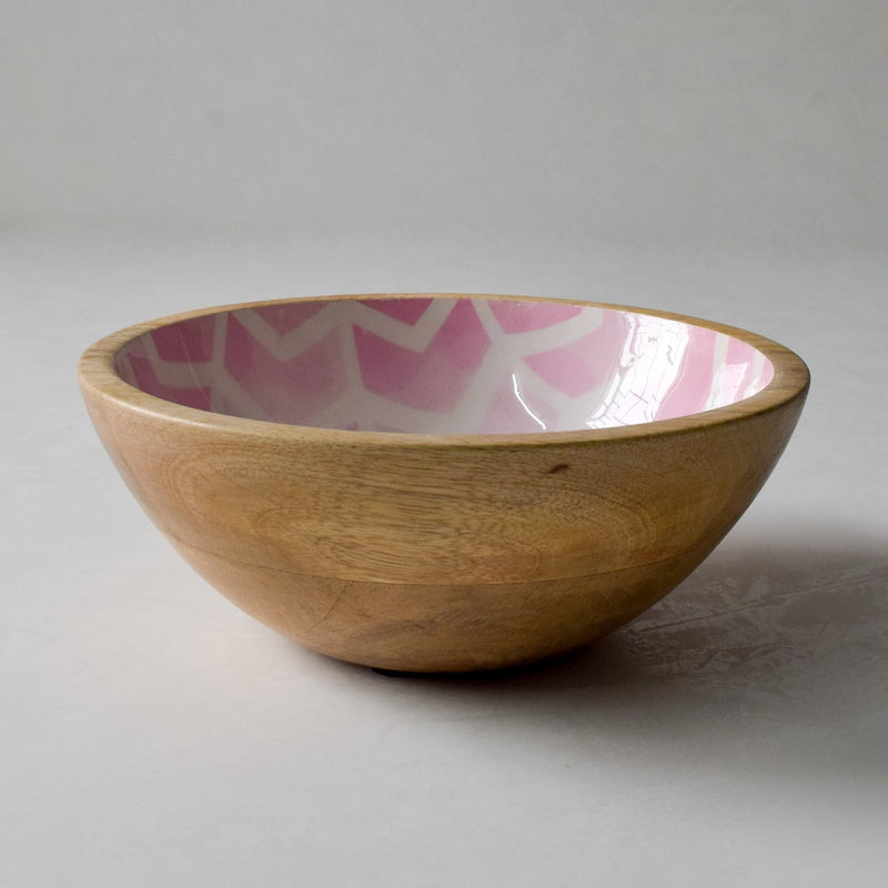 Atwood Mango Wood Bowl with Pink Chevron Design  - Home Artisan