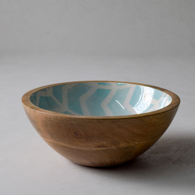 Atwood Mango Wood Bowl with Mint Chevron Design - Home Artisan_2