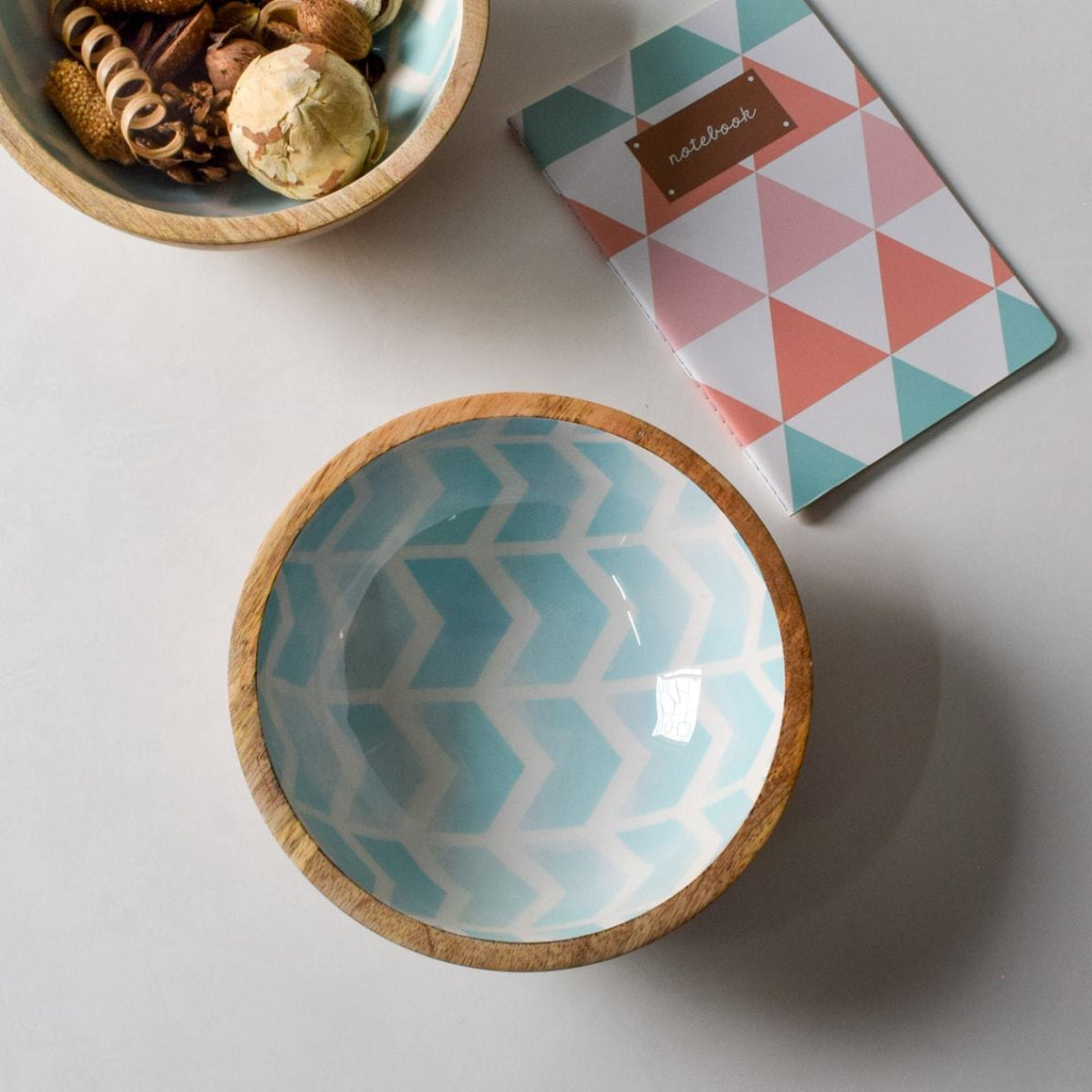 Atwood Mango Wood Bowl with Mint Chevron Design  - Home Artisan