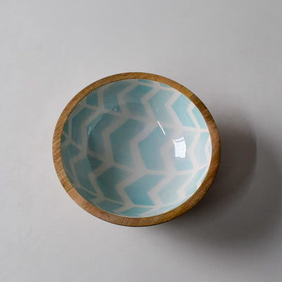 Atwood Mango Wood Bowl with Mint Chevron Design - Home Artisan_3