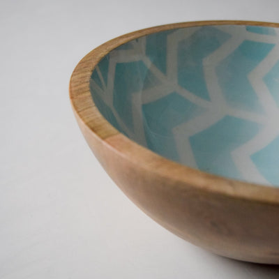 Atwood Mango Wood Bowl with Mint Chevron Design - Home Artisan_4