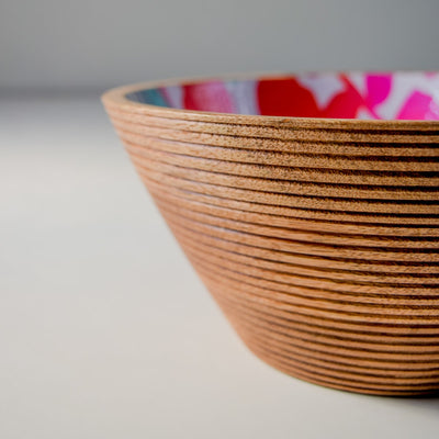 Nymeria Mango Wood Bowl with Floral Pattern - Large