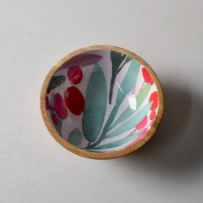 Nymeria Mango Wood Bowl with Floral Pattern - Home Artisan_1