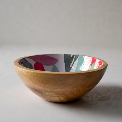 Nymeria Mango Wood Bowl with Floral Pattern - Home Artisan_3