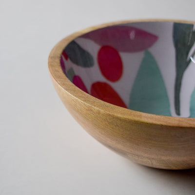 Nymeria Mango Wood Bowl with Floral Pattern