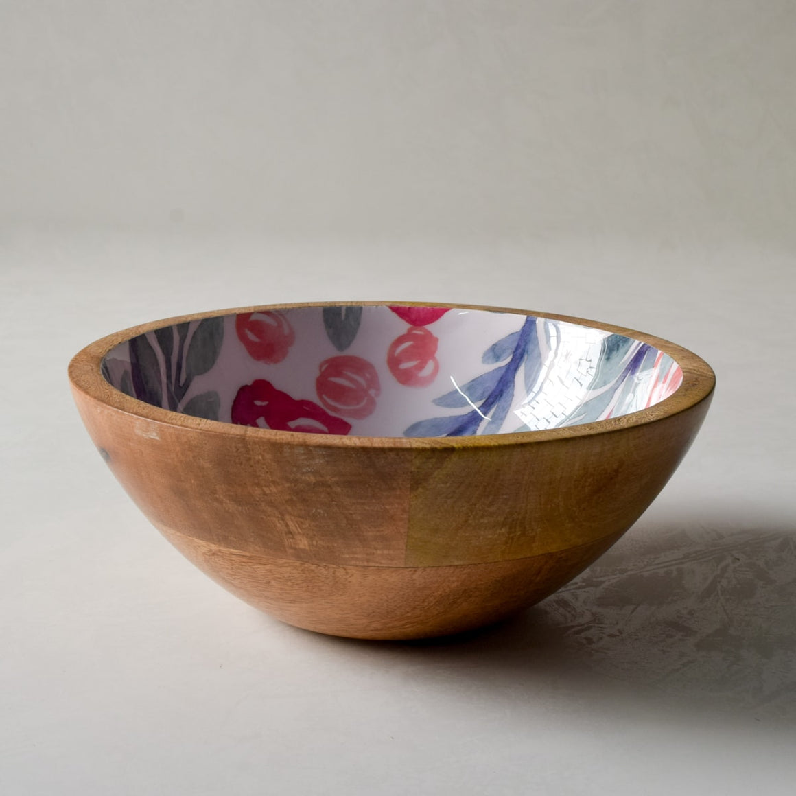 Priscilla Mango Wood Bowl with Floral Pattern