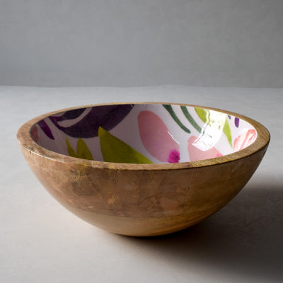 Marbela Mango Wood Bowl with Floral Pattern - Home Artisan_2