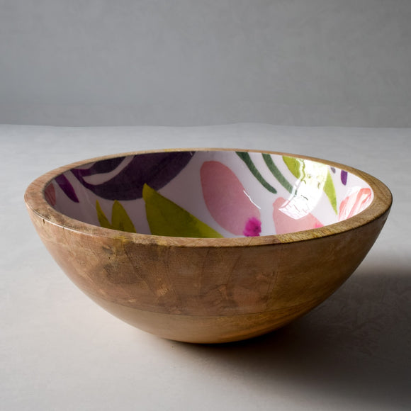 Marbela Mango Wood Bowl with Floral Pattern - Home Artisan