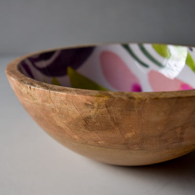 Marbela Mango Wood Bowl with Floral Pattern - Home Artisan_4