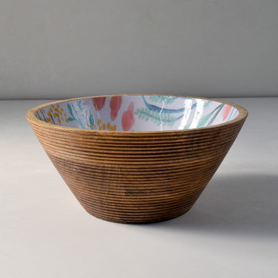 Serena Mango Wood Bowl with Floral Pattern - Large - Home Artisan