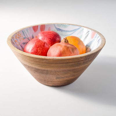 Serena Mango Wood Bowl with Floral Pattern - Large