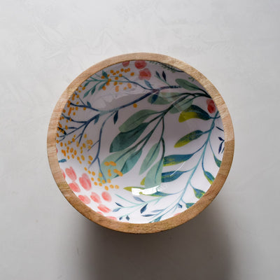 Serena Mango Wood Bowl with Floral Pattern - Home Artisan_2