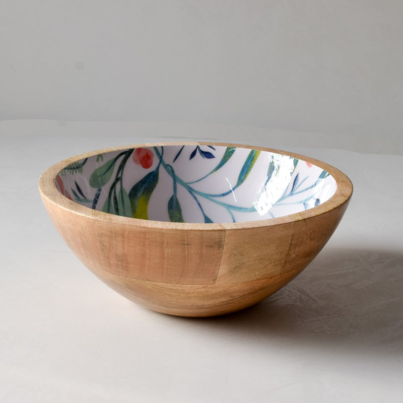Serena Mango Wood Bowl with Floral Pattern