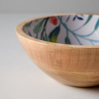 Serena Mango Wood Bowl with Floral Pattern - Home Artisan_4