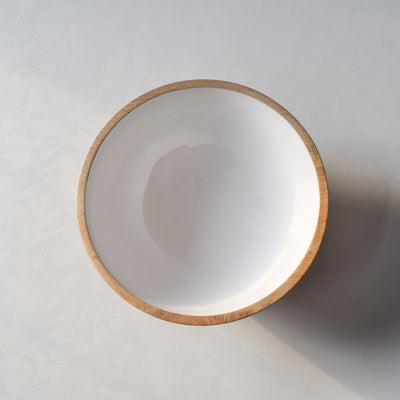 Chloe Mango Wood Bowl with White Enamel - Home Artisan_3