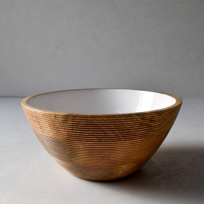 Chloe Mango Wood Bowl with White Enamel - Home Artisan_1