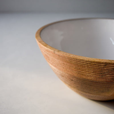 Chloe Mango Wood Bowl with White Enamel - Home Artisan_4