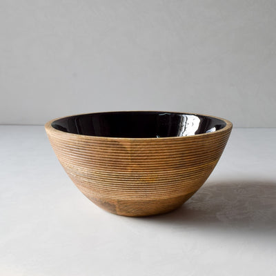 Chloe Mango Wood Bowl with Black Enamel - Home Artisan_1