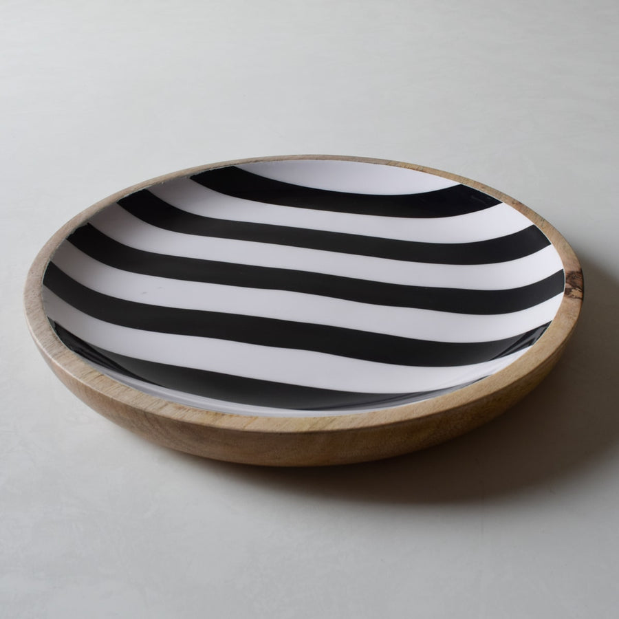 Stark Mango Wood Platter with Monochromatic Stripe Design