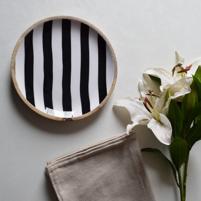 Stark Mango Wood Platter with Monochromatic Stripe design - Home Artisan