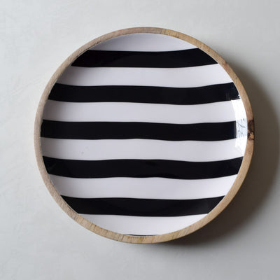 Stark Mango Wood Platter with Monochromatic Stripe Design - Home Artisan_3