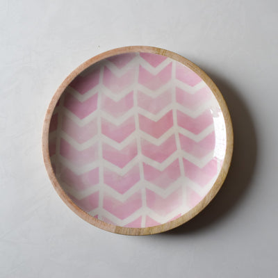 Atwood Mango Wood Platter with Pink Chevron Design - Home Artisan_2