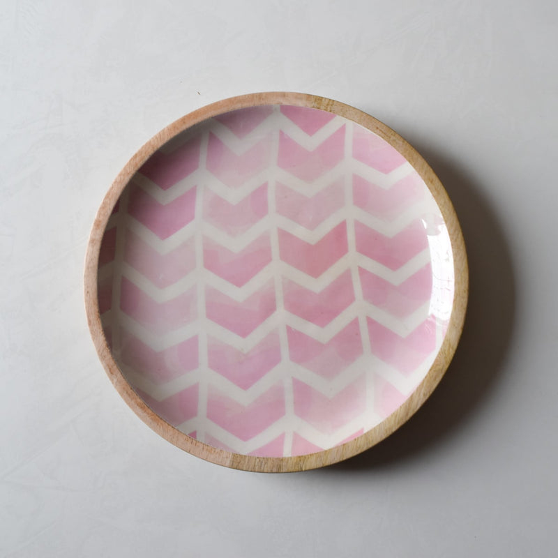 Atwood Mango Wood Platter with Pink Chevron Design  - Home Artisan