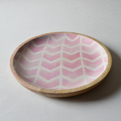 Atwood Mango Wood Platter with Pink Chevron Design - Home Artisan_3
