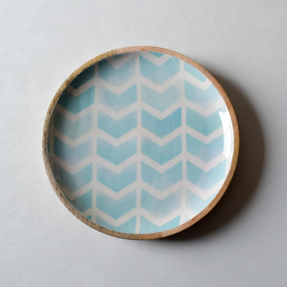 Atwood Mango Wood Platter with Mint Chevron Design  - Home Artisan