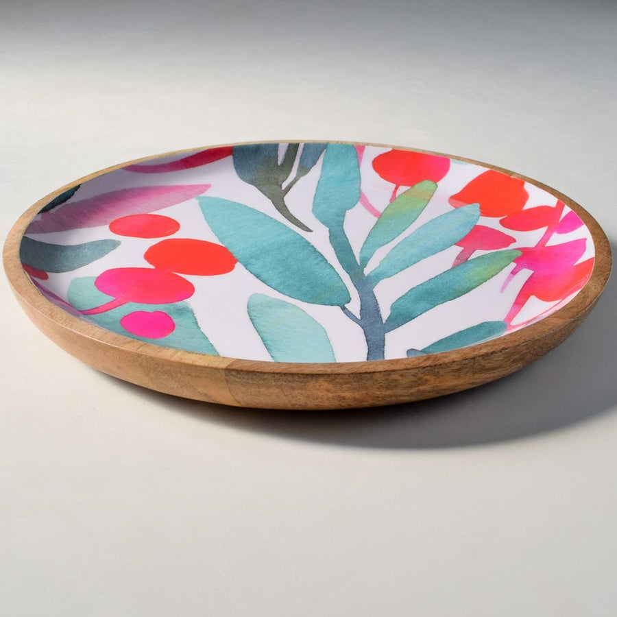 Nymeria Mango Wood Platter with Floral Pattern - Large