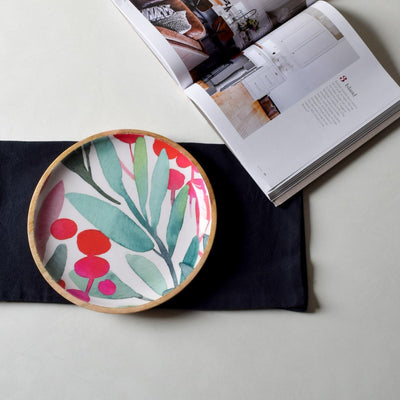 Nymeria Mango Wood Platter with Floral Pattern - Home Artisan